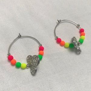 Disney Neon Colors and Silver Mickey Earrings